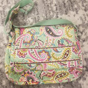 Vera Bradley Mint Green Paisley Tech Bag EUC